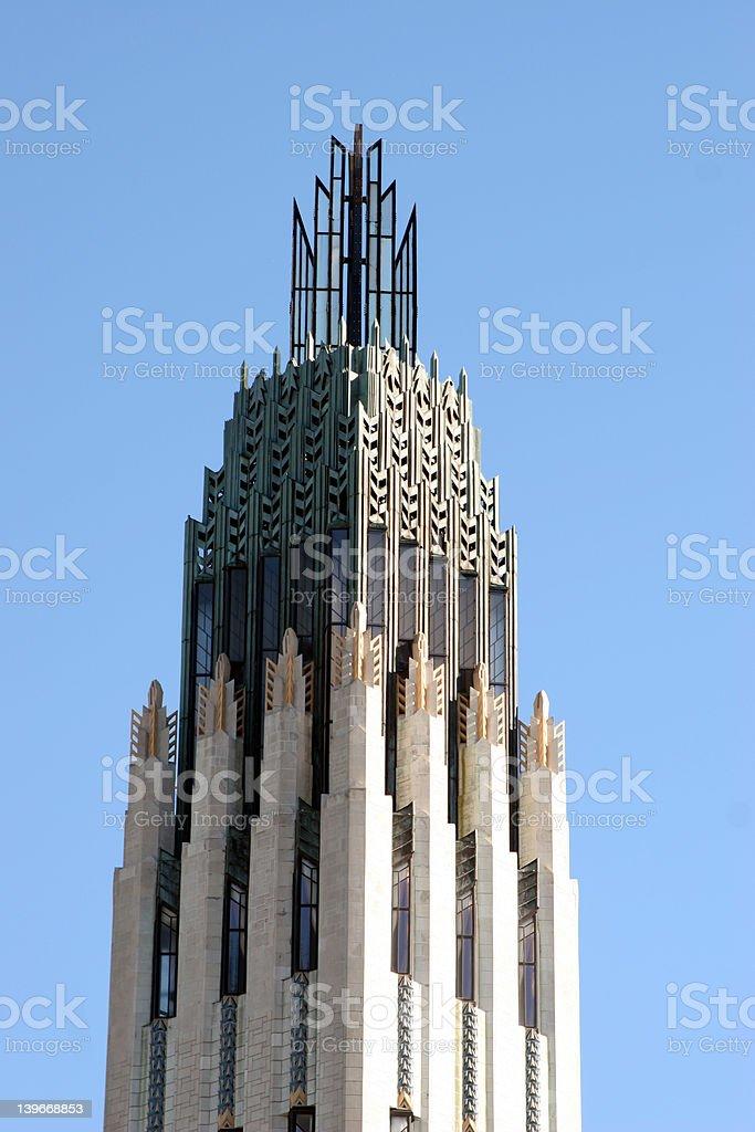 Art Deco Tower of Boston Avenue Methodist Church, Tulsa, OK stock photo