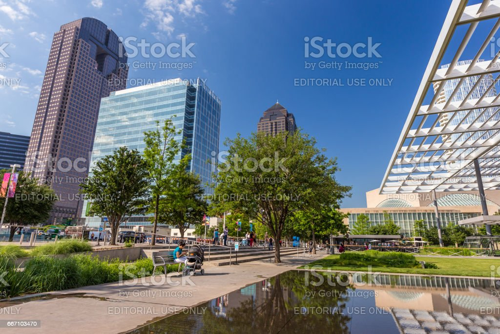 Art district in Dallas downtown, sunny day, Texas stock photo
