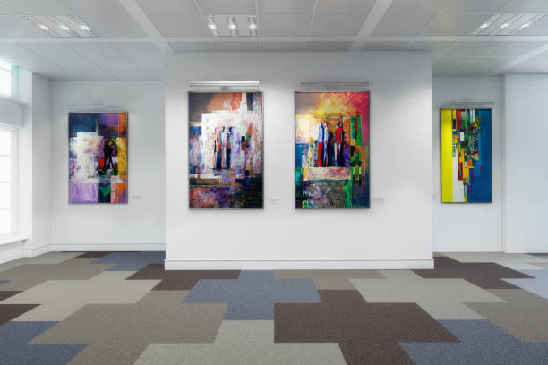 art exibition lot - 3d visualization - art stock pictures, royalty-free photos & images