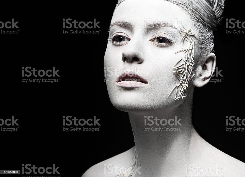 Art fashion girl with white skin. Creative art beauty stock photo