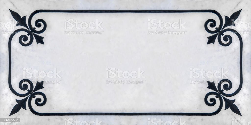 Art frame corner design on mable background stock photo