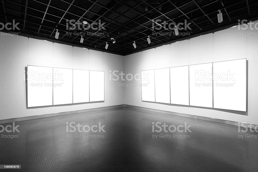 Art galleries with blank artwork on the walls royalty-free stock photo