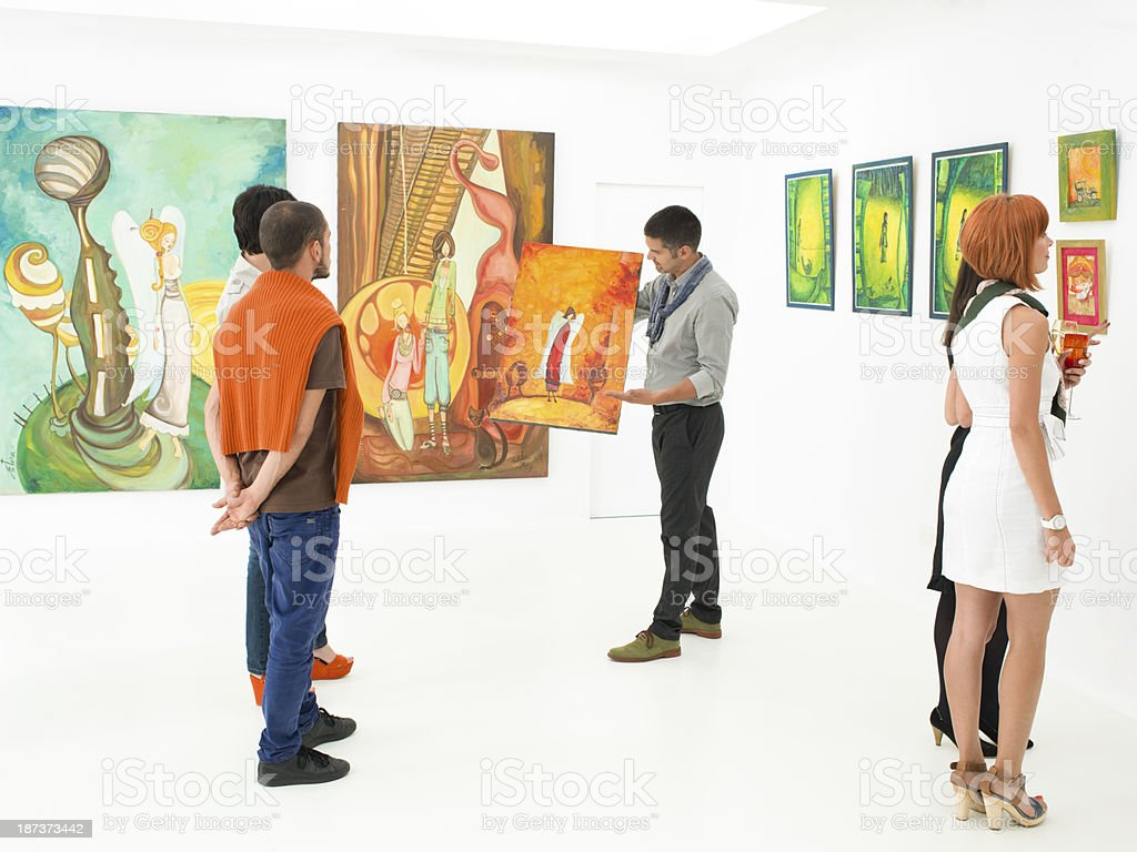 art gallery auction stock photo