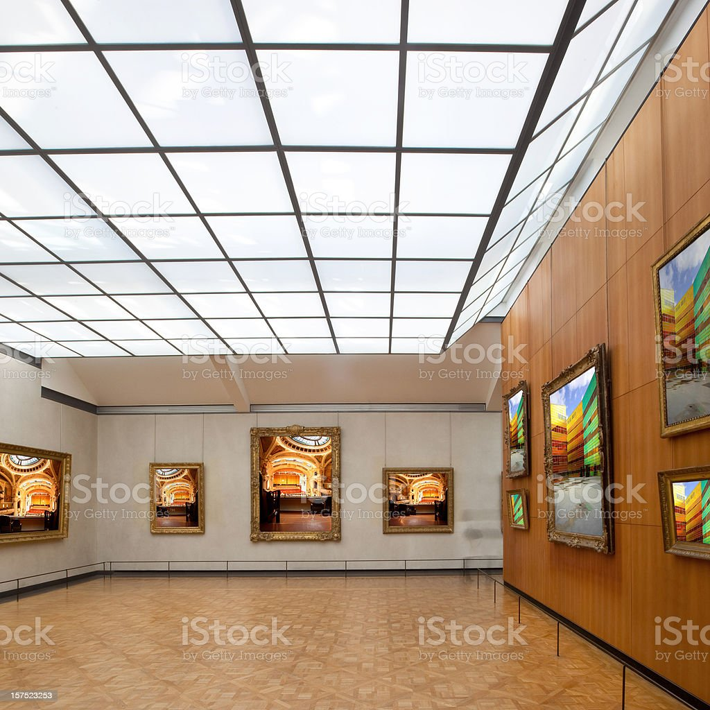 Art gallery in a museum stock photo