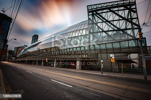 Toronto, Ontario, Canada - November 14, 2018:  The Art Gallery of Ontario ('AGO') is a large gallery in the heart of the city of Toronto.  It's distinctive present day architectural features came about via major renovations completed in 2008, overseen by architect Frank Gehry.  The AGO houses collections from all over the world and in multiple disciplines.