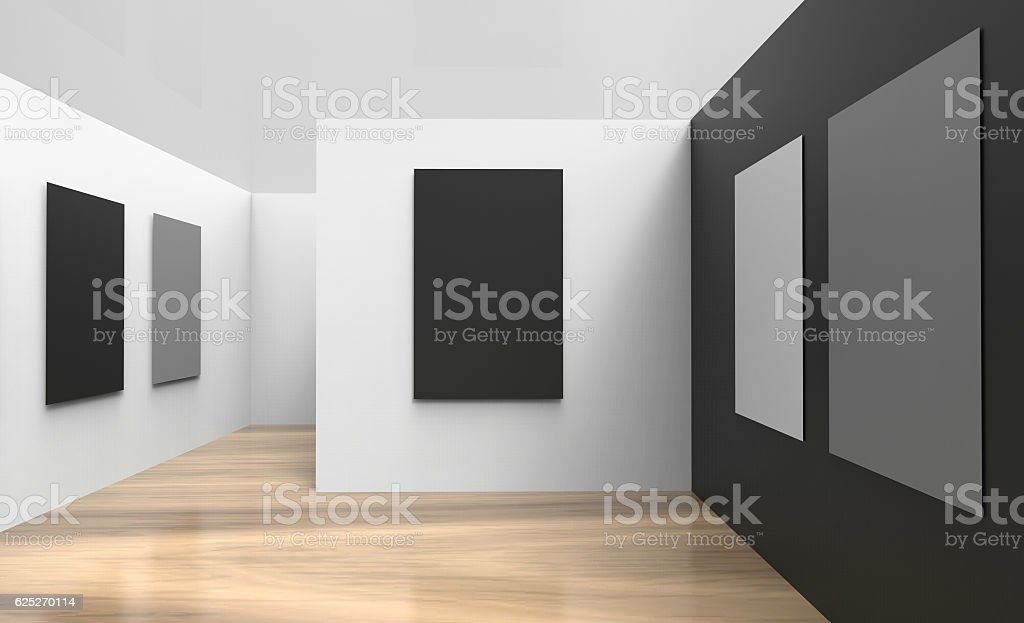 Art Gallery Studio and picture frameWall black And white modern stock photo