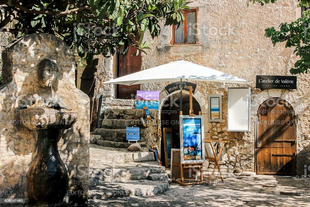 art gallery under sunshine in Eze Village stock photo