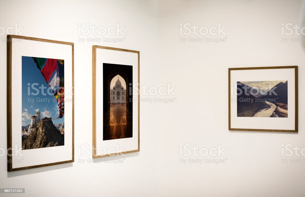 Art gallery with an exhibition stock photo