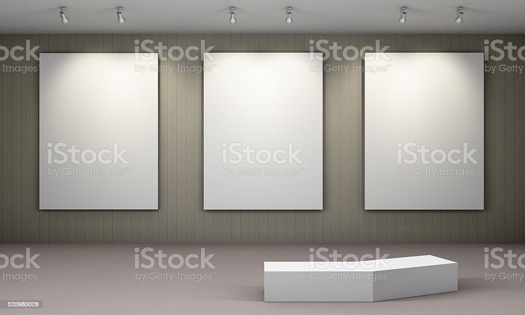 Art Gallery with blank placard stock photo