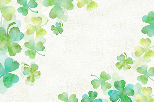 Art green clover watercolor background Art green clover watercolor background on paper texture shamrock stock pictures, royalty-free photos & images