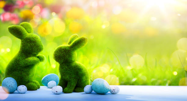 art happy easter day; family easter bunny and easter eggs - easter bunny stock photos and pictures