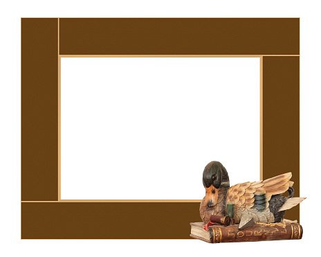Brown art hunter frame with the duck on a white background.
