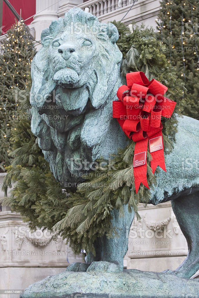 Art Institute Lion at Christmas royalty-free stock photo