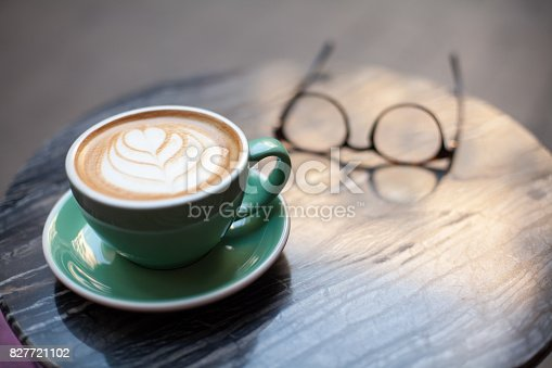 istock Art latte a cup of hot coffee 827721102