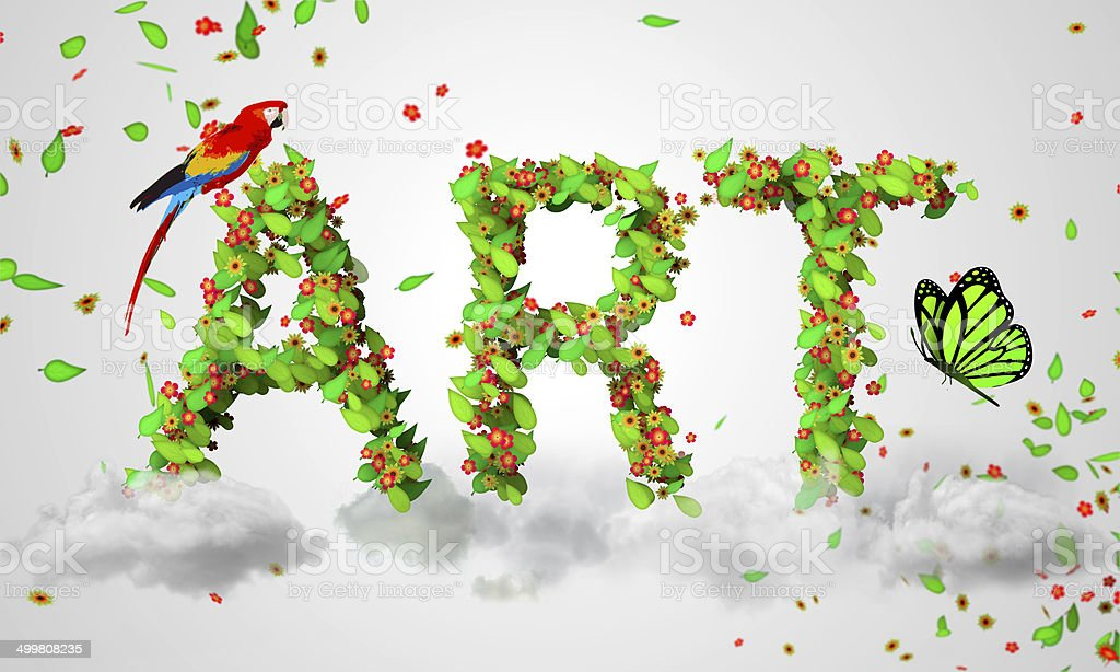 Art leaves particles 3D royalty-free stock photo