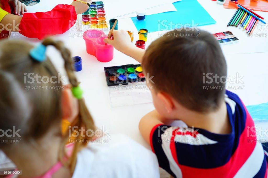 Art lesson in kindergarten royalty-free stock photo