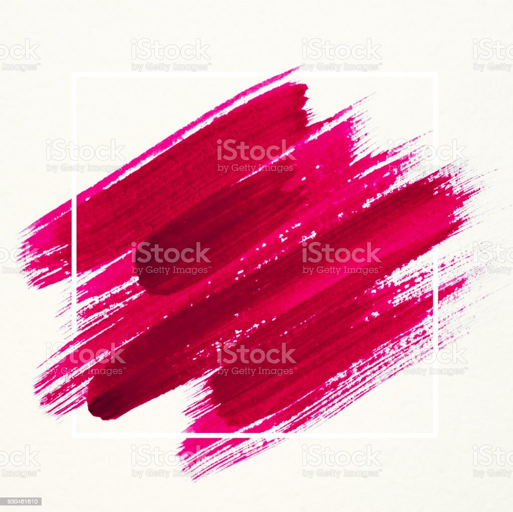 Art logo brush painted watercolor on paper abstract background design illustration acrylic stroke over square frame. Perfect painted design for headline, logo and sale banner. stock photo