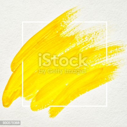 istock Art logo brush painted watercolor on paper abstract background design illustration acrylic stroke over square frame. Perfect painted design for headline, logo and sale banner. Yellow color. 930575368