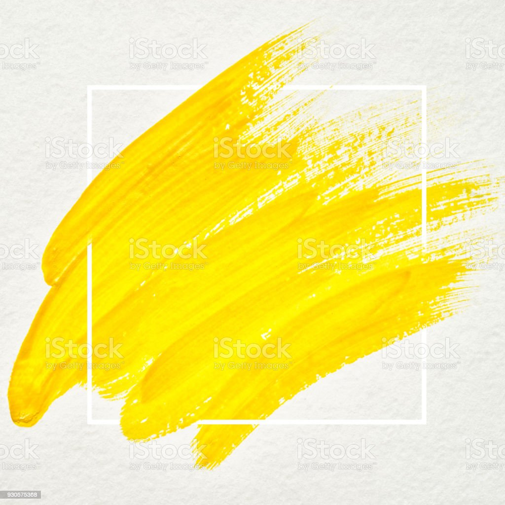Art logo brush painted watercolor on paper abstract background design illustration acrylic stroke over square frame. Perfect painted design for headline, logo and sale banner. Yellow color. stock photo