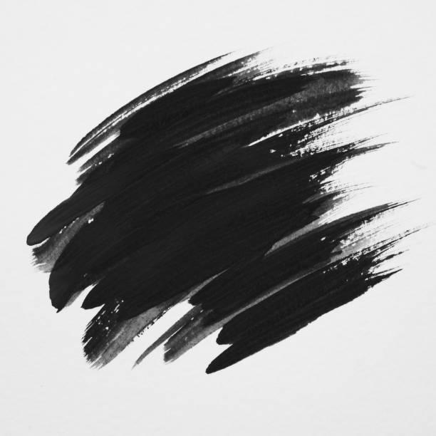 Konst logotypen pensel målade akvarell på papper abstrakt bakgrund design illustration akryl stroke. Perfekt målade designen för rubrik, logotyp och försäljning banner. Svart färg. bildbanksfoto