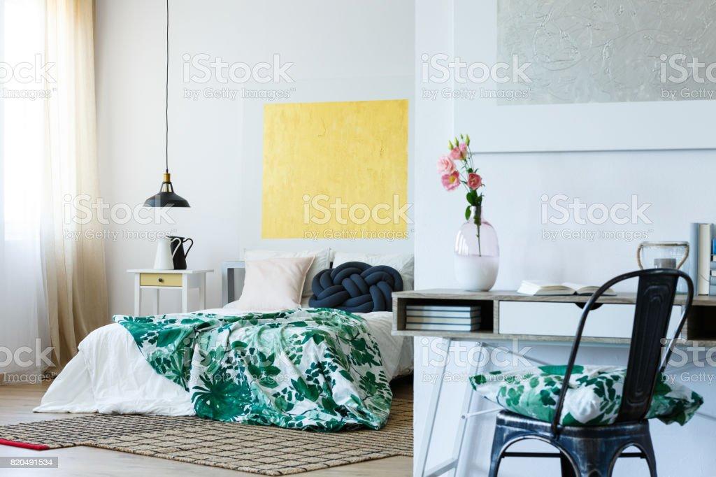 Art lover's bedroom stock photo