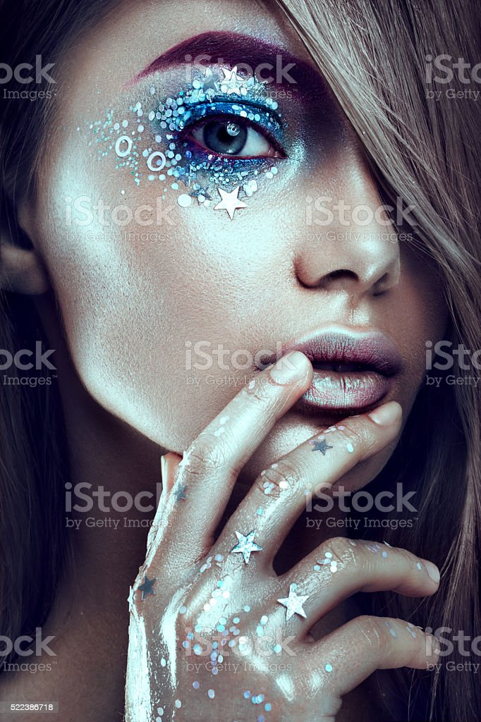 Art make up.Woman portrait with creative body-art stock photo