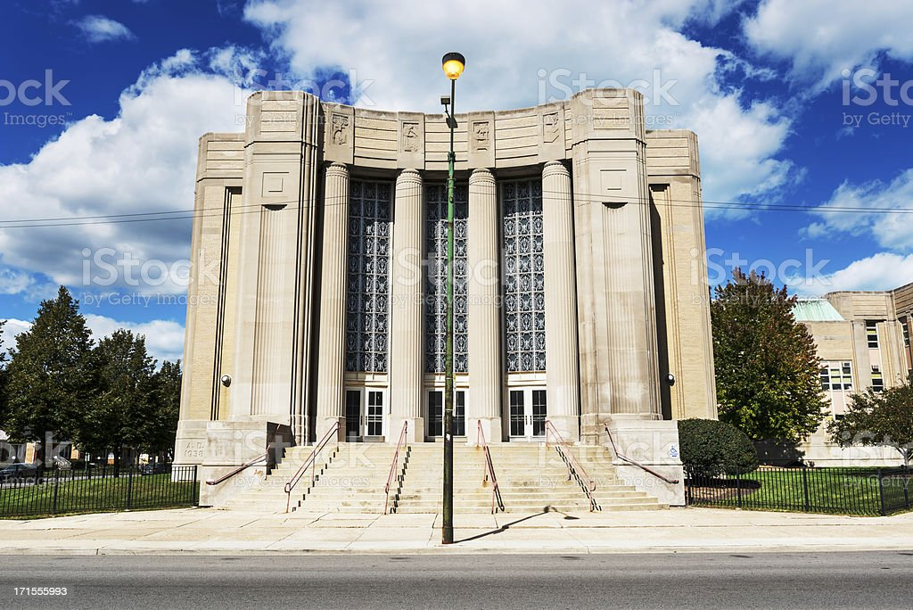 Art Moderne period School in Chicago royalty-free stock photo