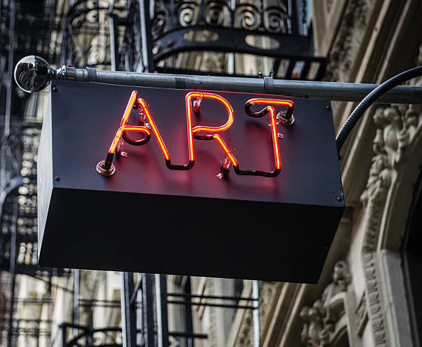 art neon sign - curator stock pictures, royalty-free photos & images