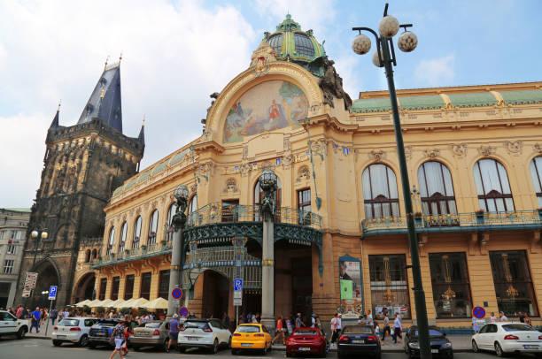 Art nouveau building, Municipal House, theater and opera house at the Republic Square in Prague, Czech Republic stock photo