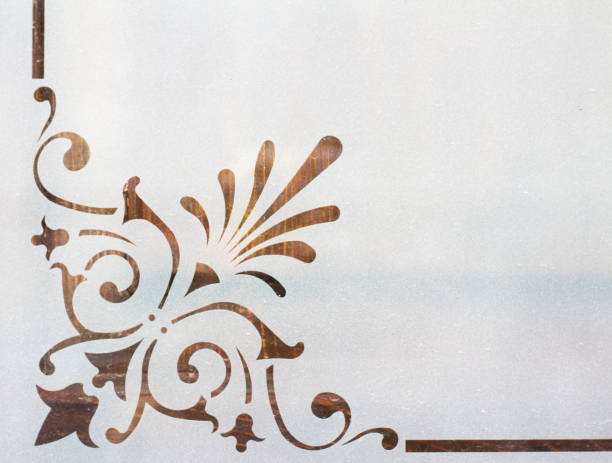 Art Nouveau Design on Frosted Glass (Close-Up) stock photo