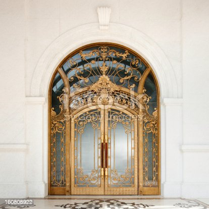 Grand french colonial art nouveau style door.