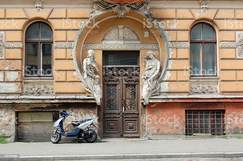 Art Nouveau entrance in Riga stock photo