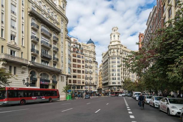 Art nouveau flats in Valencia, Spain stock photo
