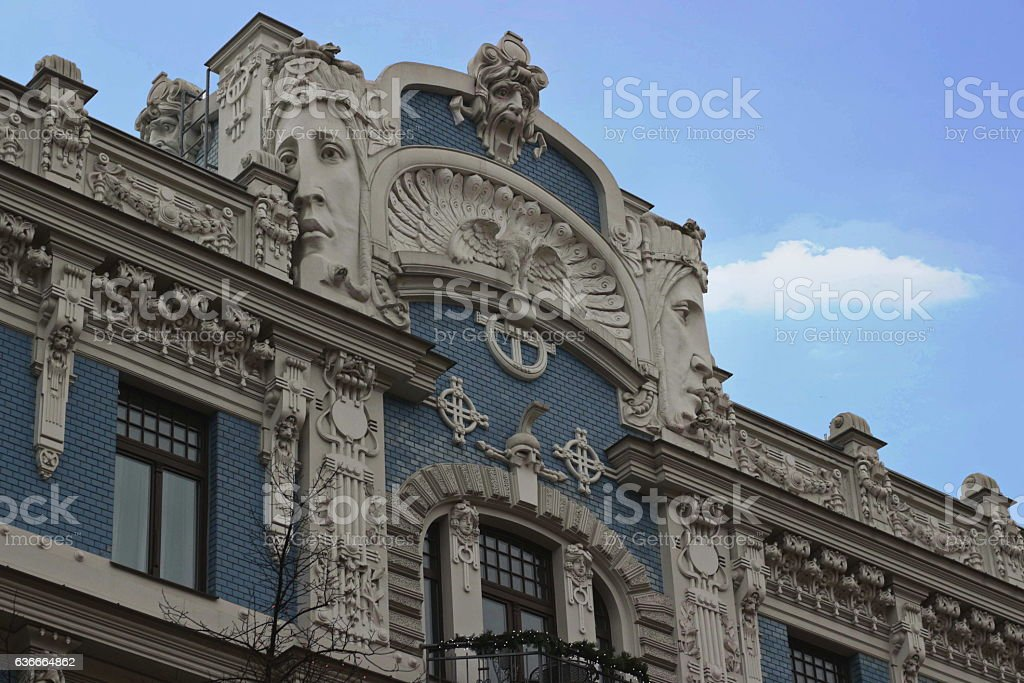 Art Nouveau, Jugenstil building in Riga Latvia stock photo