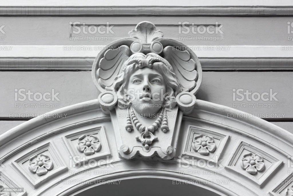 Art Nouveau Marble Sculpture in Trieste stock photo