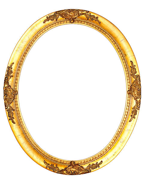 art nouveau picture frame viii - vintage retro old - ellipse stock photos and pictures