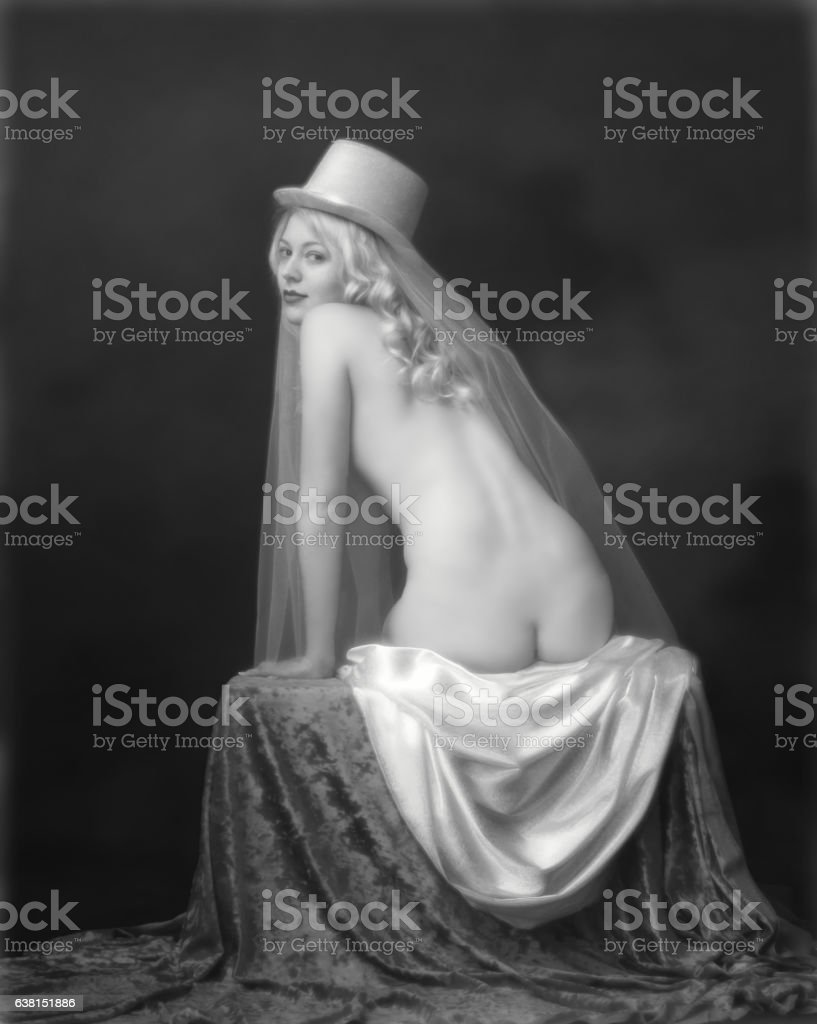 Art nouveau portait of Bride stock photo
