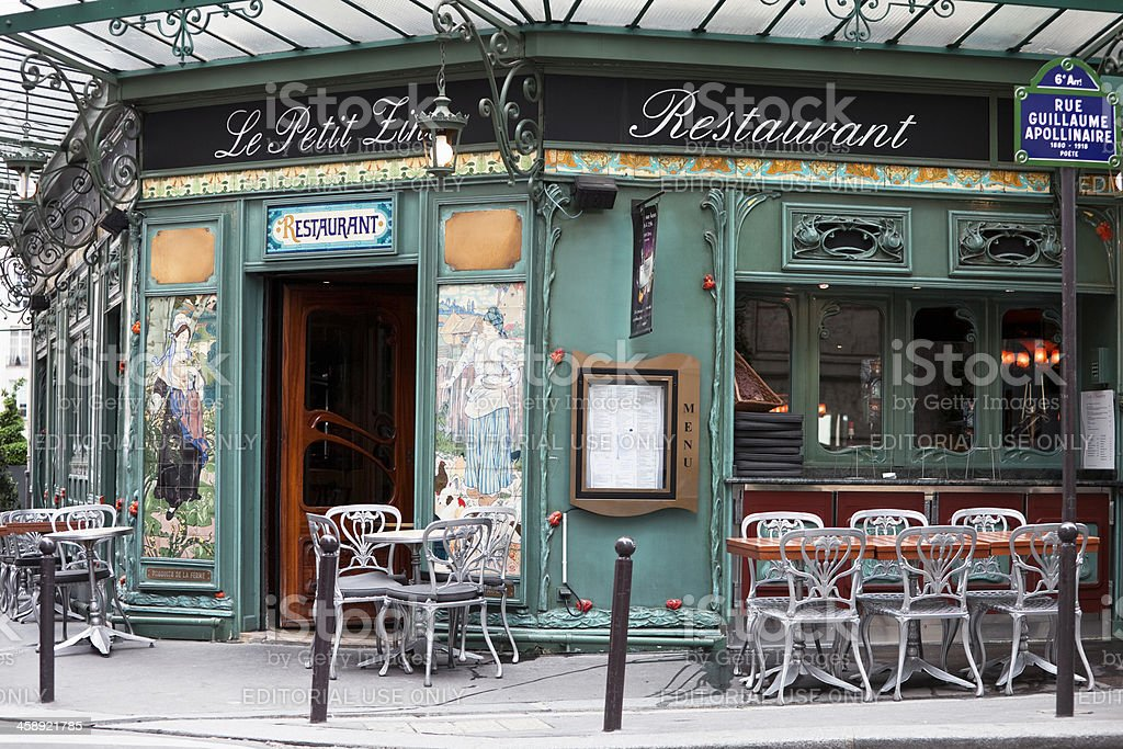 Art Nouveau Restaurant in Saint Germain, Paris, France stock photo