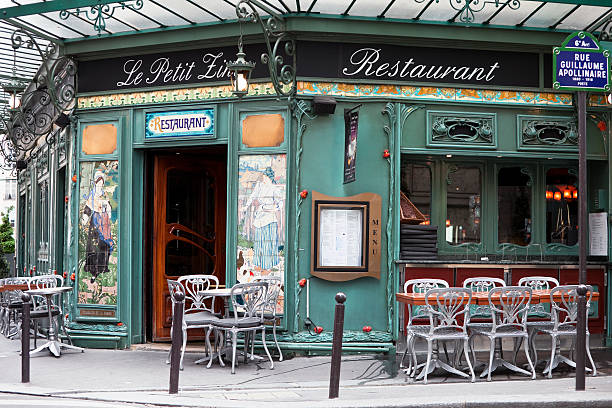 art nouveau restaurant in saint germain, paris, france - art nouveau stock photos and pictures