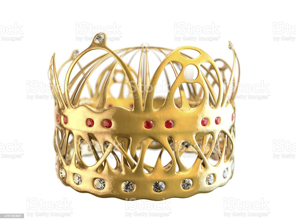 Art Nouveau style gold 'elf' crown isolated on white stock photo