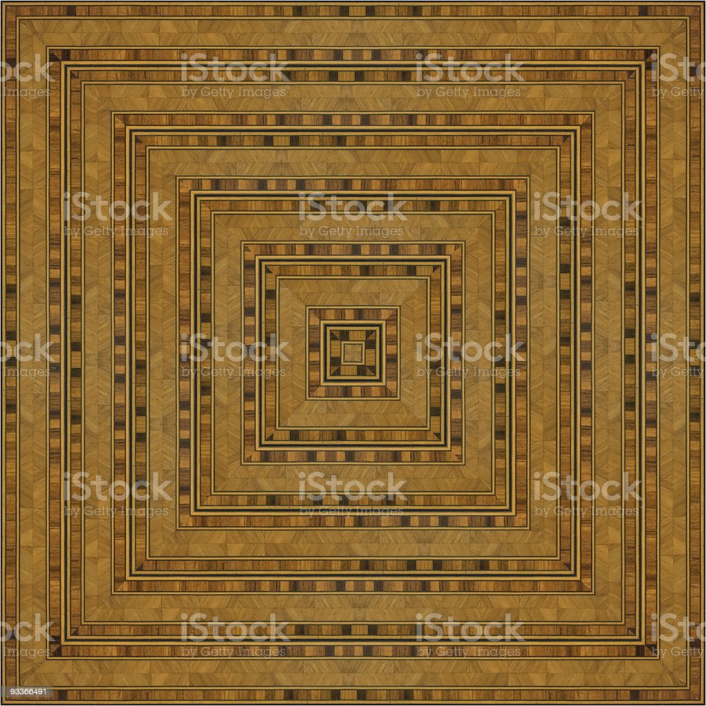 Art Nouveau Wooden Marquetry  tabletop stock photo