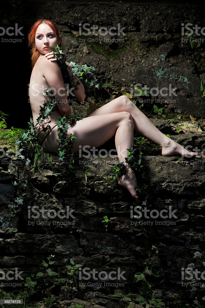 Art Nude Model Covered With Vines royalty-free stock photo