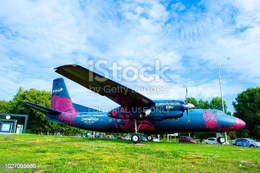 Kiev, Ukraine - July 17, 2017: International Airport Kyiv (IEV) Art Object Aircraft An-24 changed colors for Eurovision 2017 and will welcome guests of the song contest who will fly to Kiev. The previous design of Art Object Aircraft An-24 was made by famous Georgian artist Avtandil Gurgenidze in 2015.