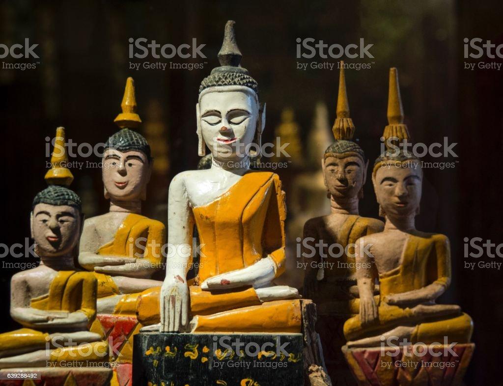 Art of Beautiful Ancient Thai Buddha Statues stock photo