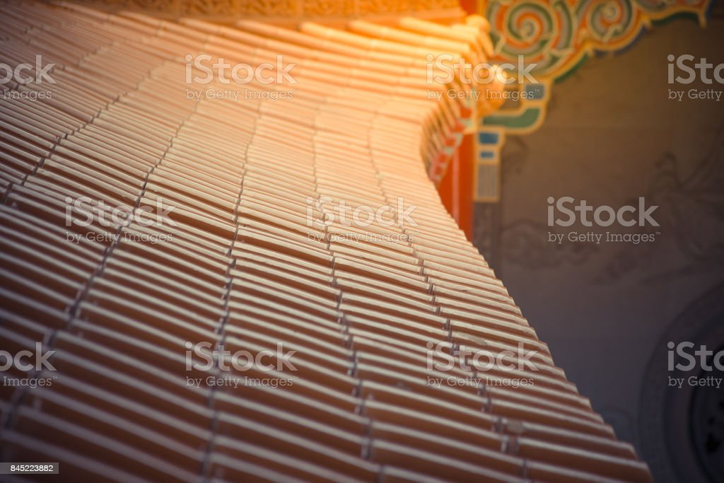 Art of building in Chinese temple stock photo
