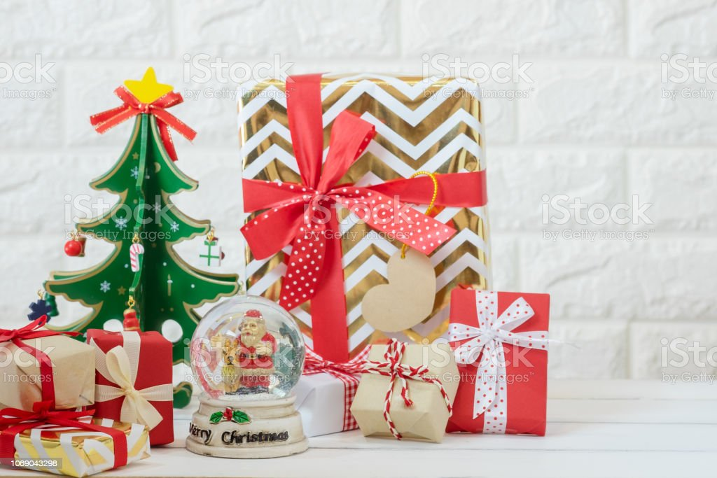 Art of Christmas ,happy new year gift red box presents with Santa...