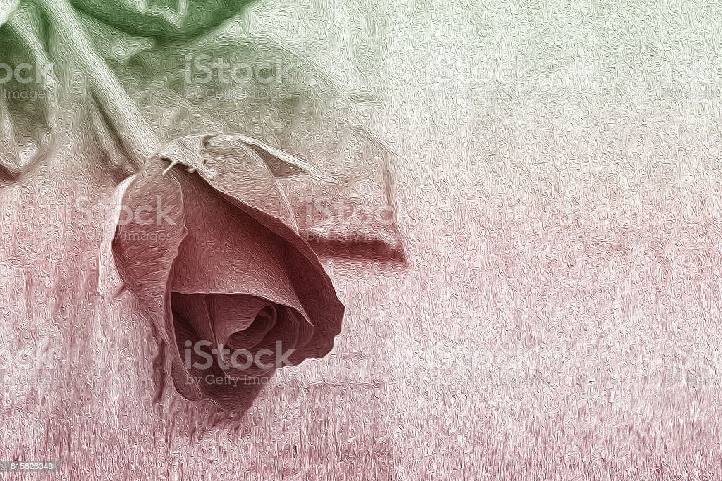 Art of oilpaint rose on wood background stock photo