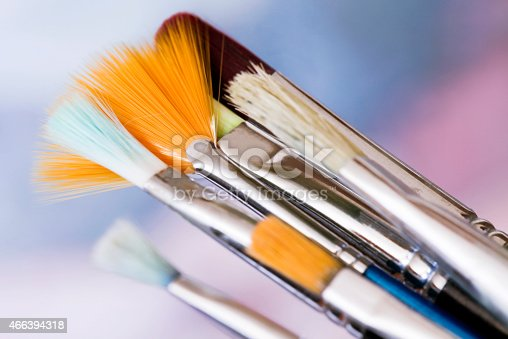 istock Art oily paint and brushes 466394318