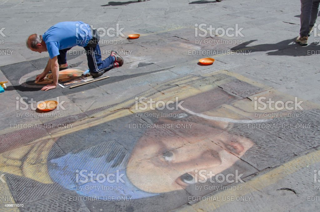 Art on the Streets of Siena, Italy stock photo