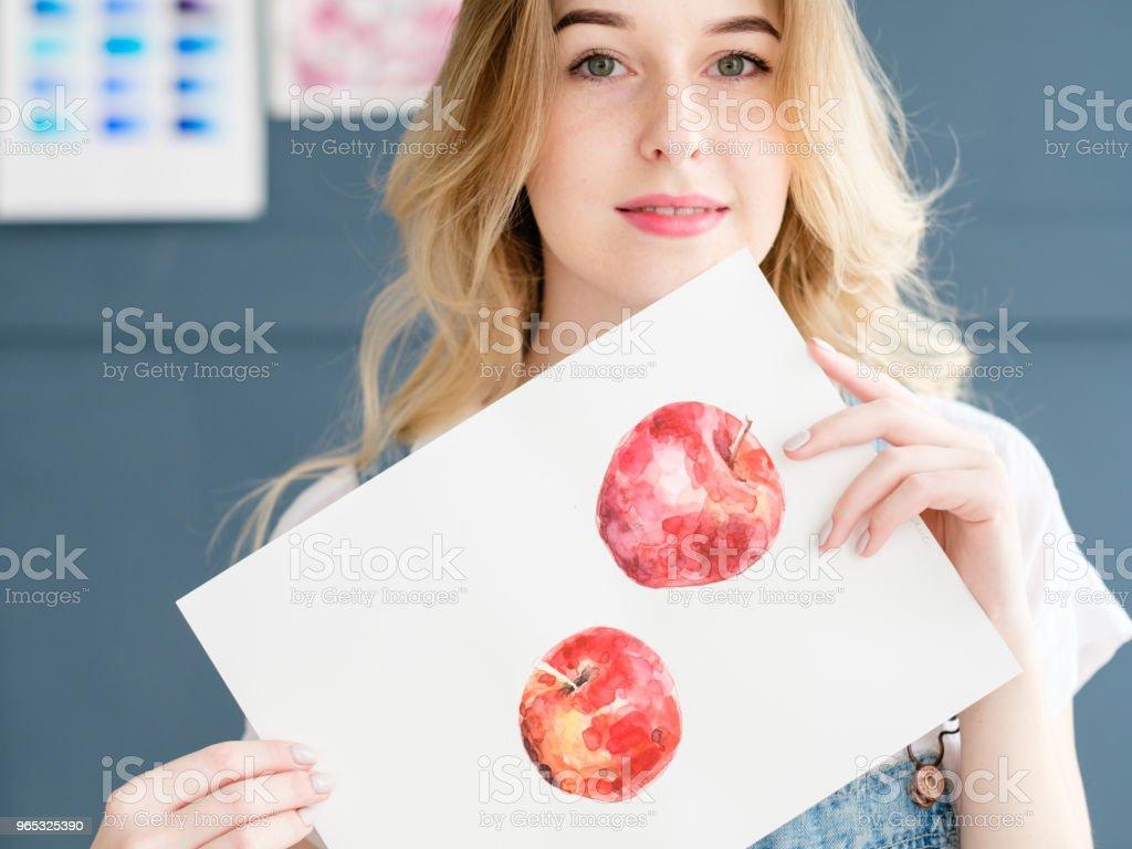 image d'art Peinture Dessin Aquarelle de pomme fruit - Photo de Adulte libre de droits